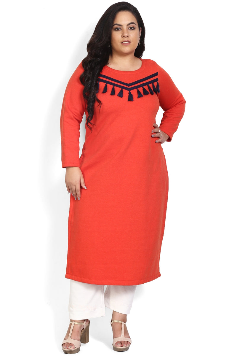 Red Tape Tassel Autumn Kurti