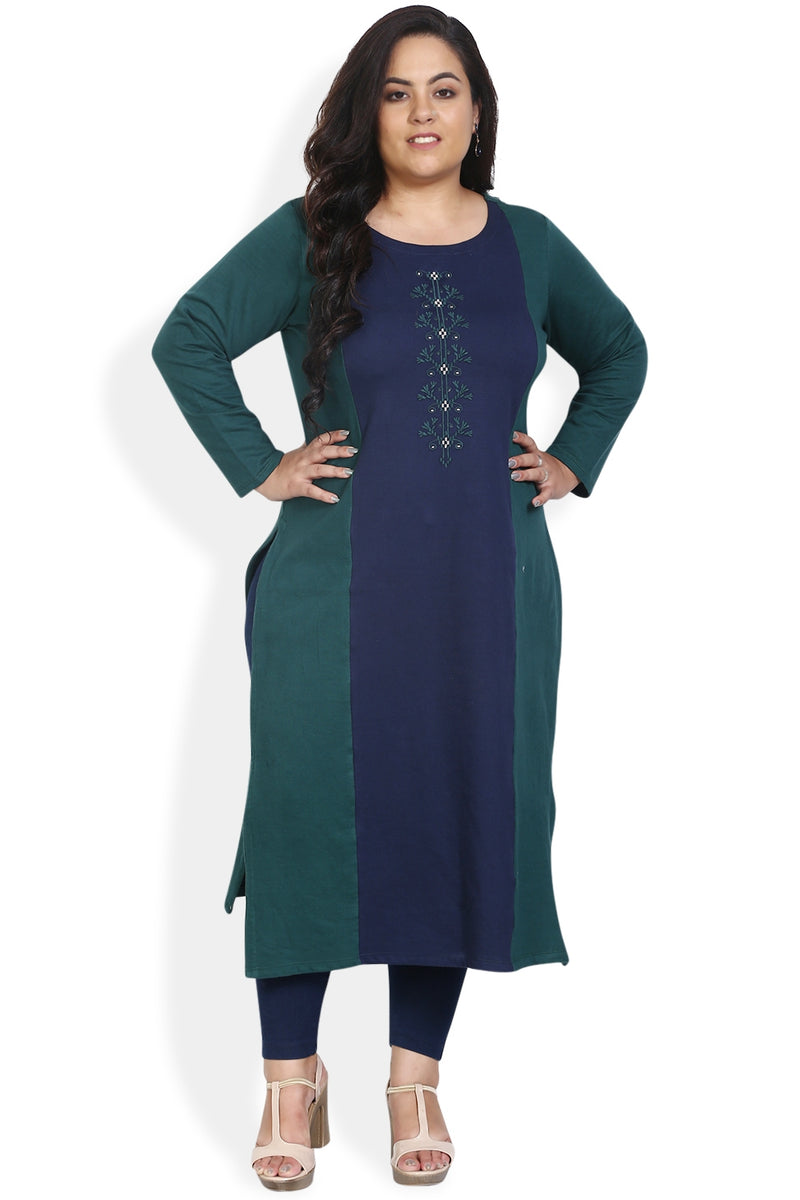 Emerald Green Navy Panel Embroidery Autumn Kurti