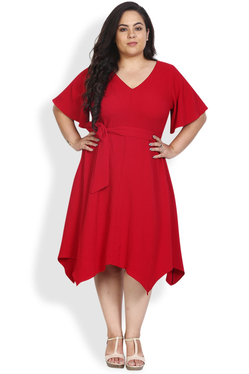 Chilly Red Waist Tie Dress