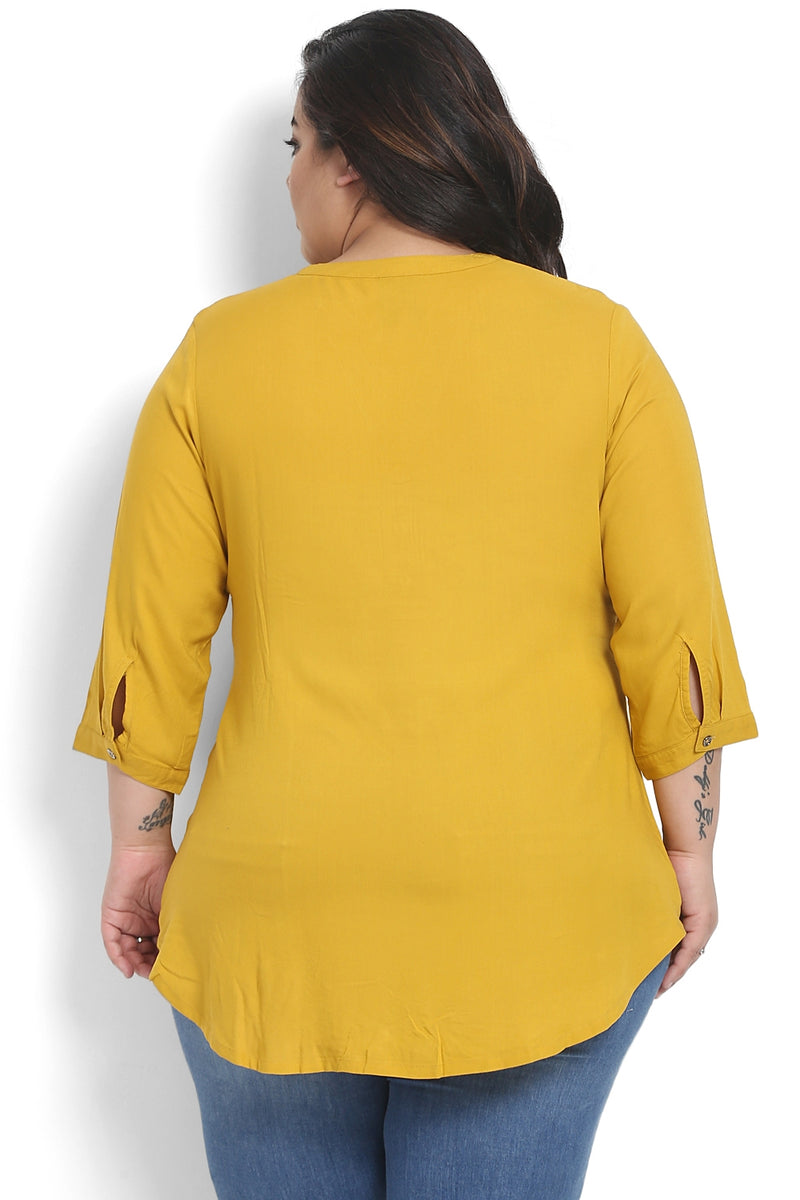 Mustard Pleated Detail Top