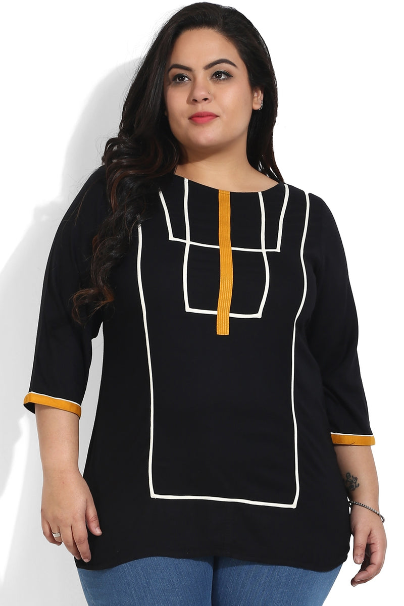Black Geometric Pattern Top