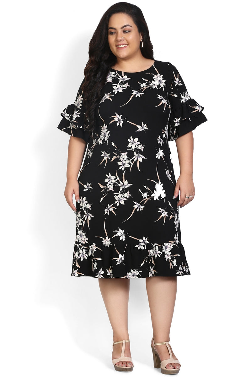 Black Floral Print Frilled Sleeve Dress