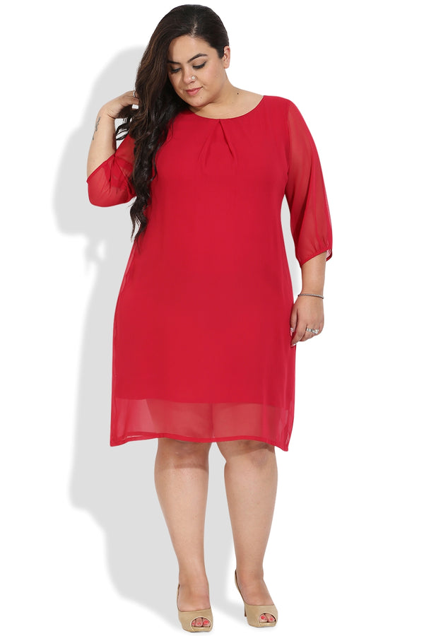 Berry Red Centre Pleat Dress