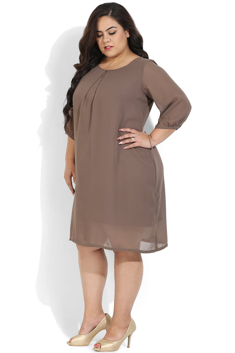 Taupe Centre Pleat Dress