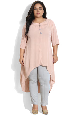 Rose Button Detailing High Low Tunic
