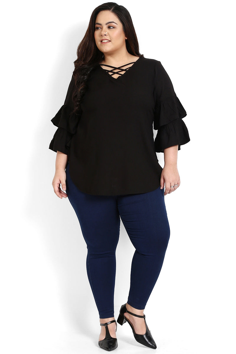 Black Criss Cross Neck Frill Sleeve Top