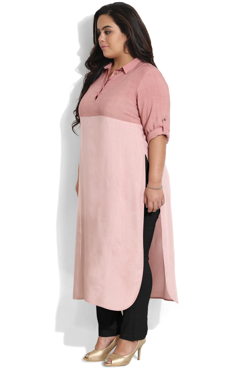 Rose Two Tone Round Hemline Shirt Kurti