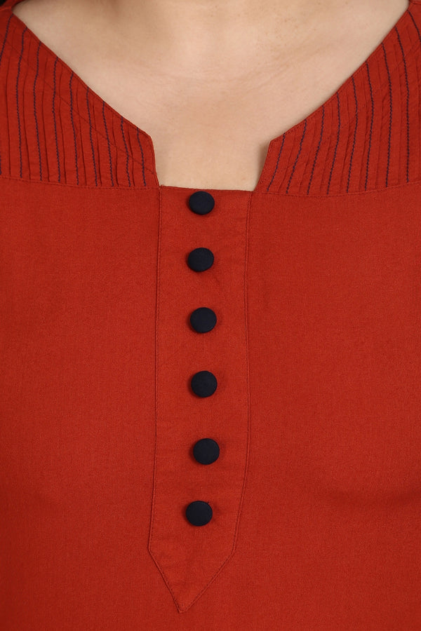 Rust Button Detail Frill Sleeve Kurti