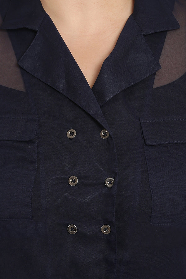 Navy Lapel Collar Button Detail Top