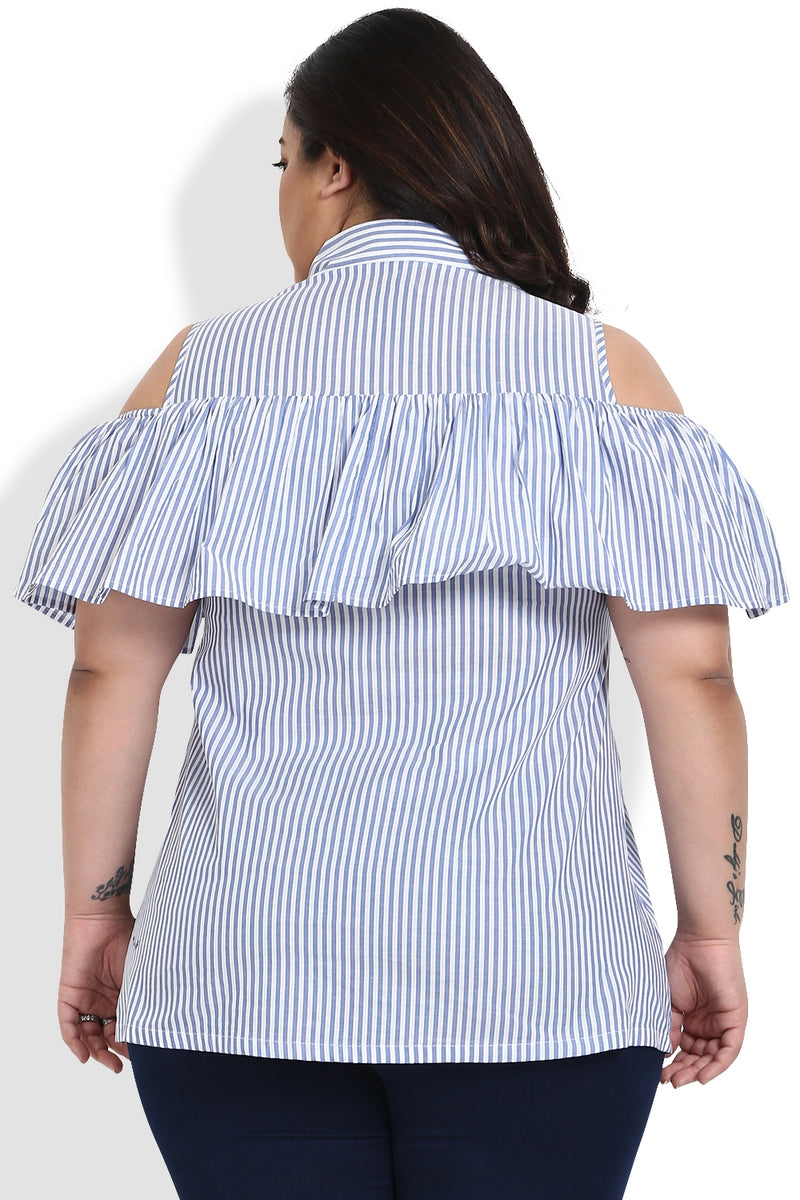 Blue White Stripe Frill Cold Shoulder Top