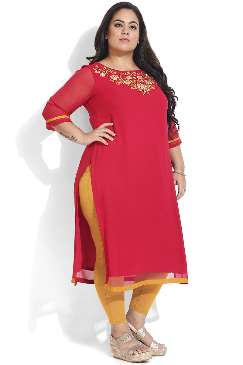 Red Neck Embroidery Georgette Kurti