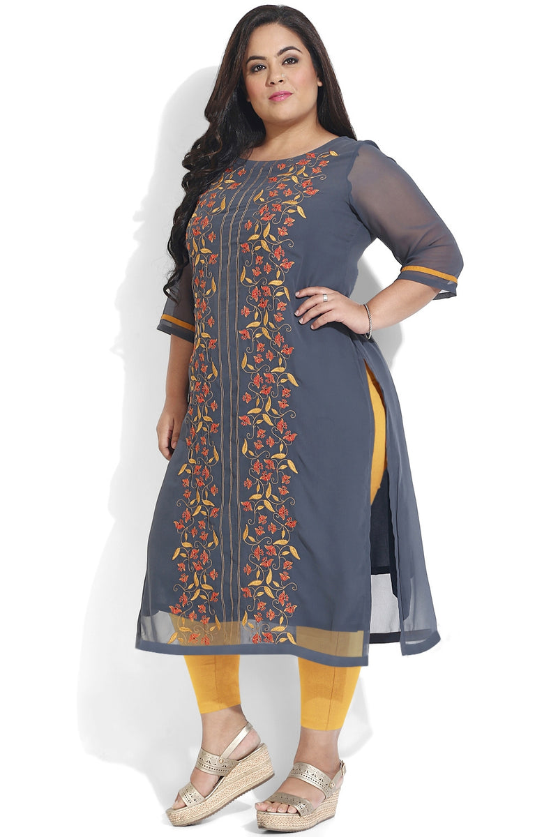 Grey Motif Embroidery Georgette Kurti