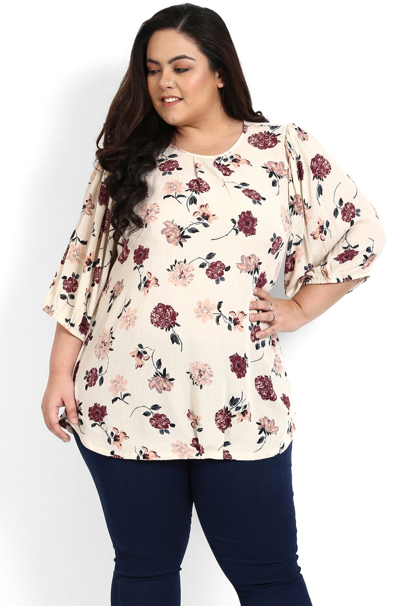 Cream Floral Printed Balloon Sleeve Top