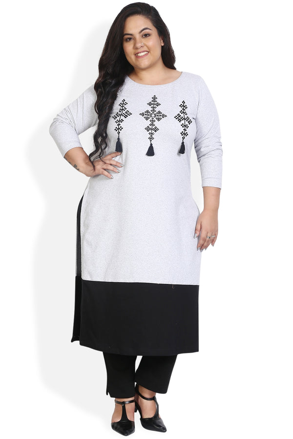 Grey Panelled Embroidery Detail Autumn Kurti