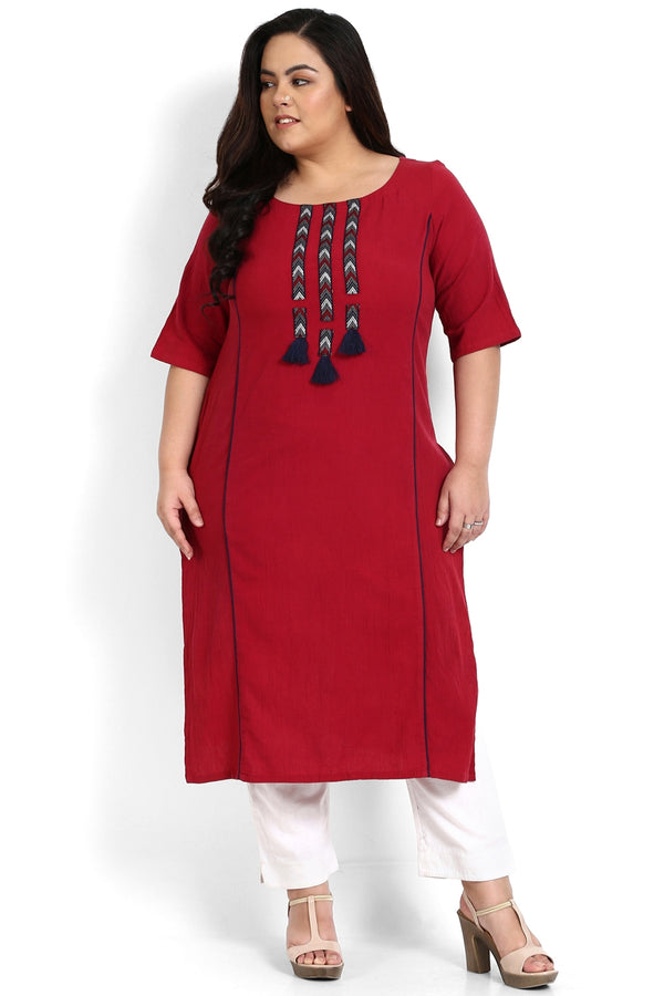 Red Tape & Tassel Detail Kurti
