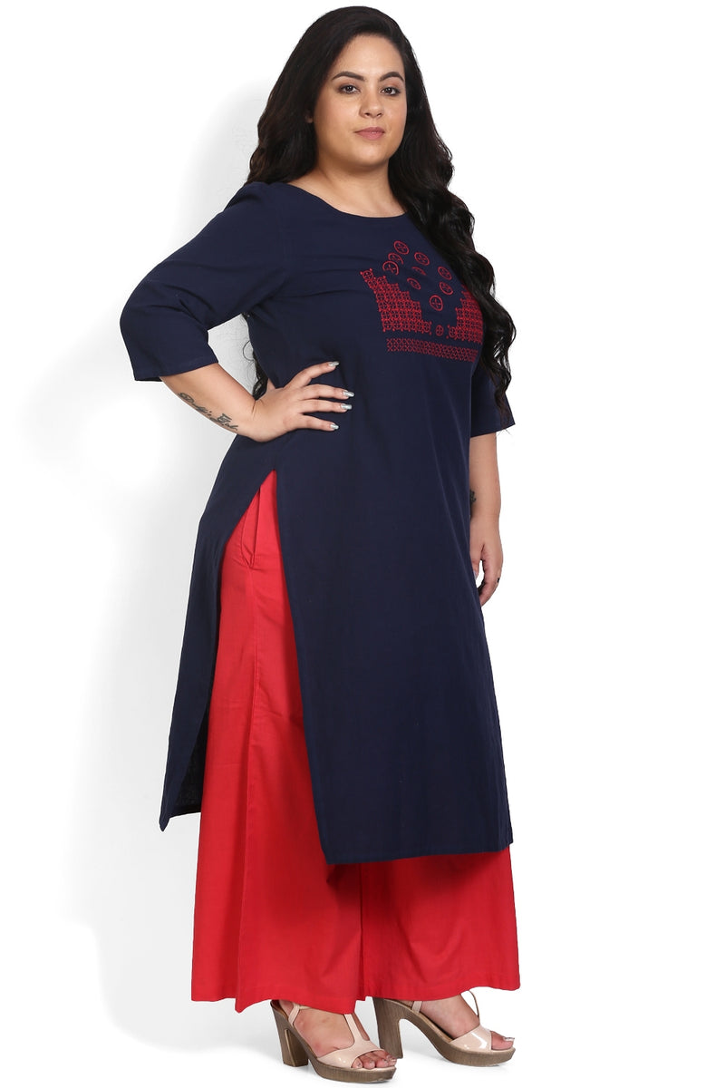 Navy Red Geometric Embroidery Kurti