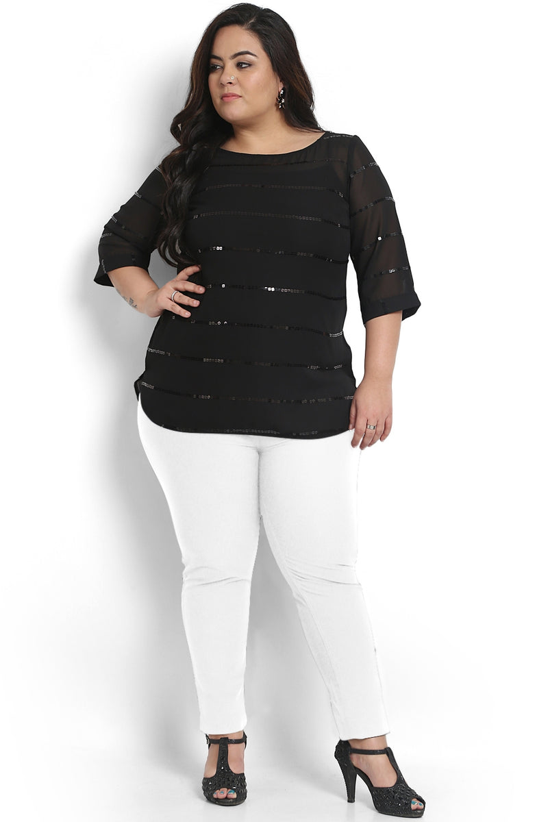 Black Sequin Detail Georgette Top