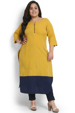 Mustard Navy Button Detail Kurti