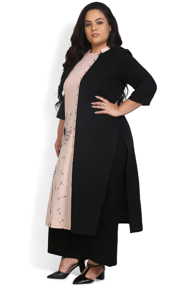 Rose Black Printed Panel Kurti