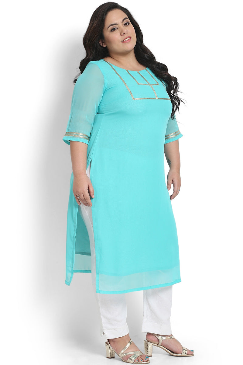 Florida Green Golden Rectangle Design Kurti