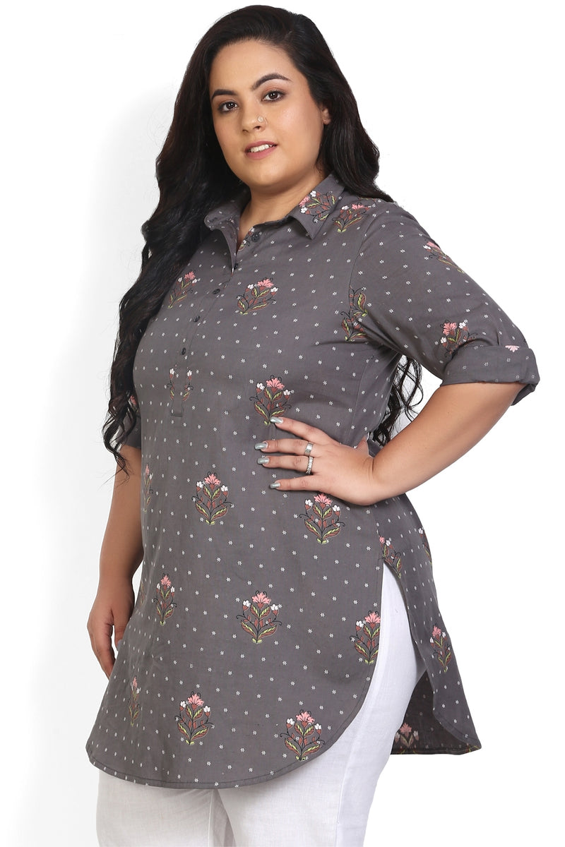 Grey Flower Print Longline Shirt