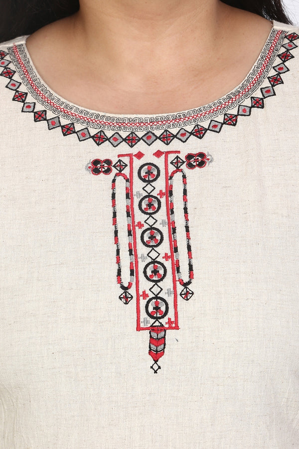 Cotton Neckline Embroidery Kurti
