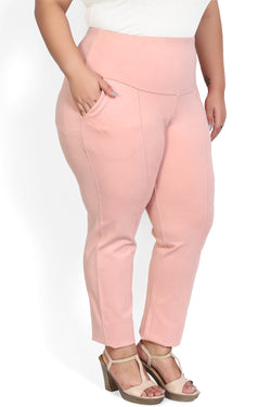 Peach Crease Seam Tummy Tucker Pants