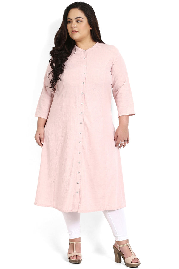 Rose Pink Princess Seam A-Line Kurti