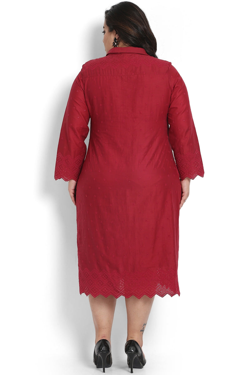 Chill Red Schiffli Cutout Shirt Dress