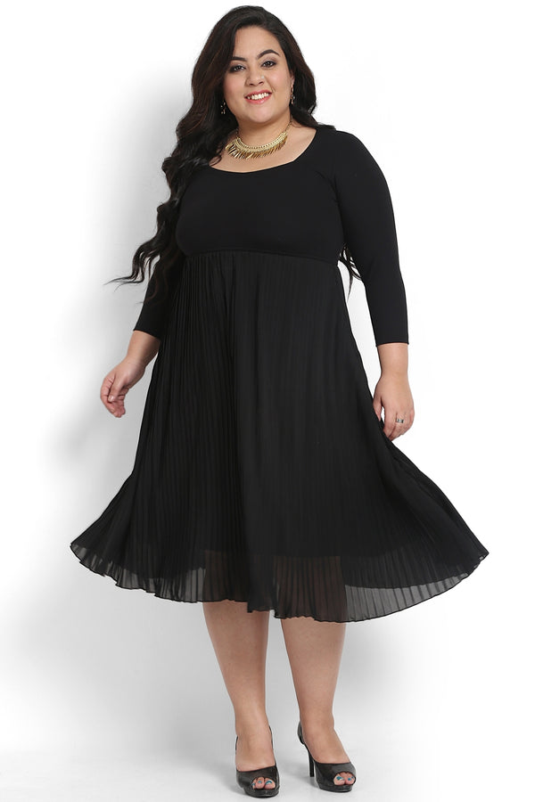 Black Pleat Detail Dress