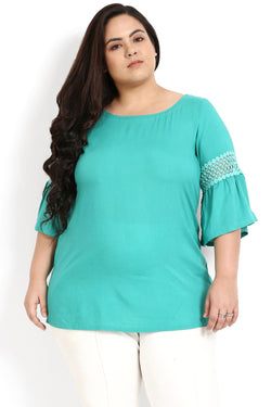 Florida Green Frill Sleeves Top