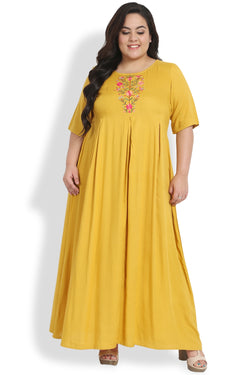 Mustard Emroidery Detail Full Length Dress