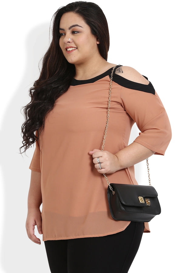 Peach & Black Cold Shoulder Georgette Top