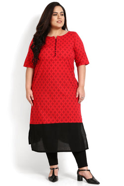 Red Printed Button Detail Kurti