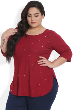 Chilly Red Studded Rounded Hemline Top