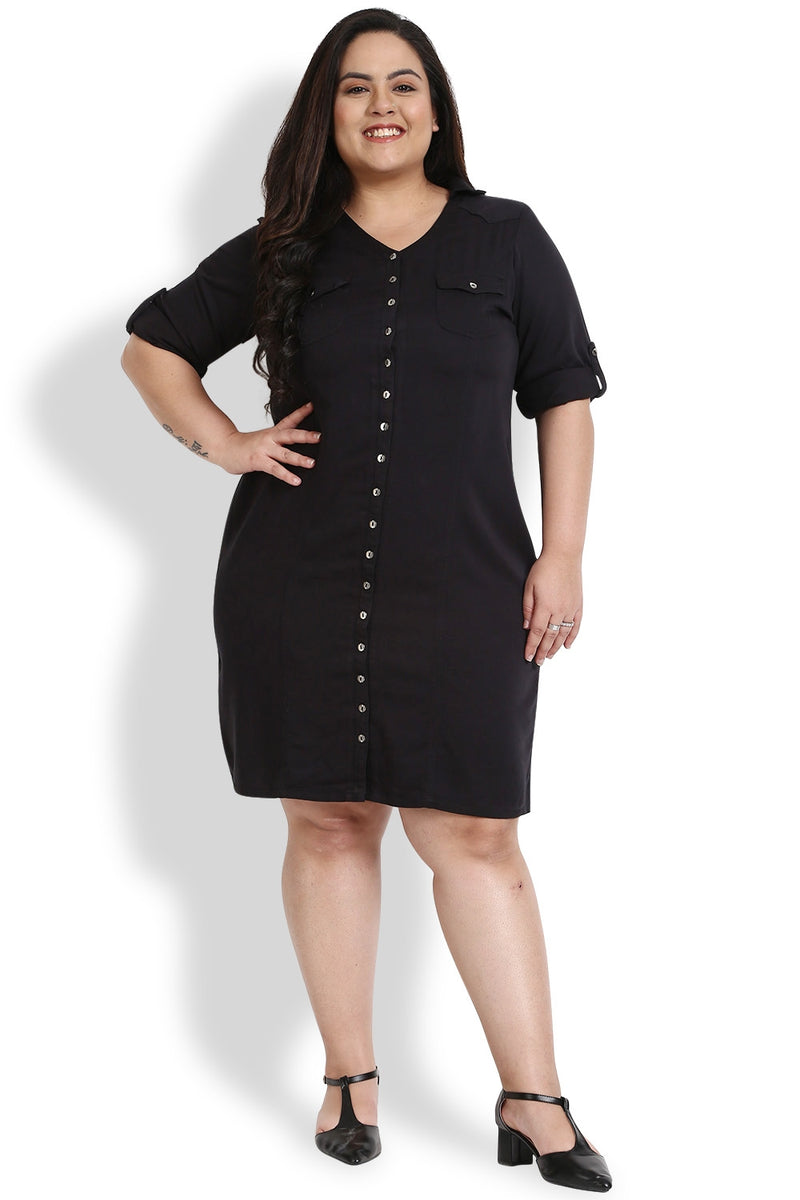 Black Princess Seam Twill Dress