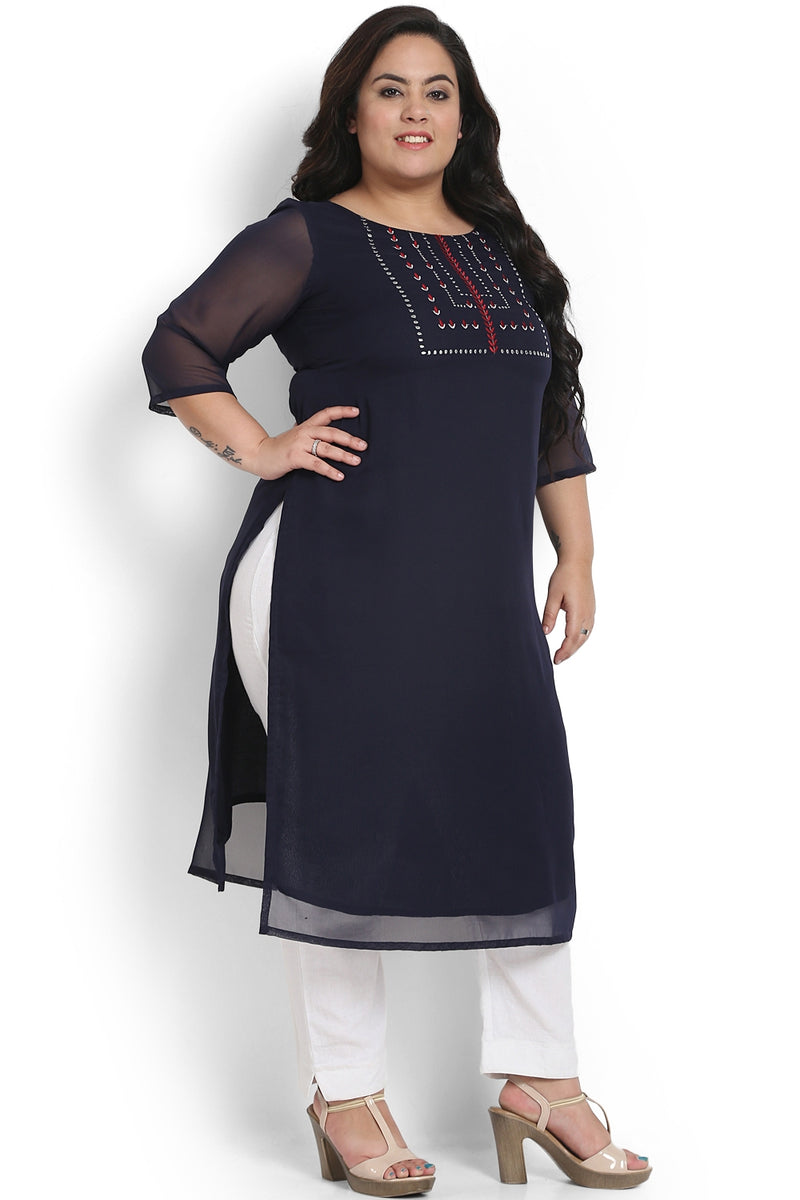 Navy Placket Embroidery Georgette Kurti