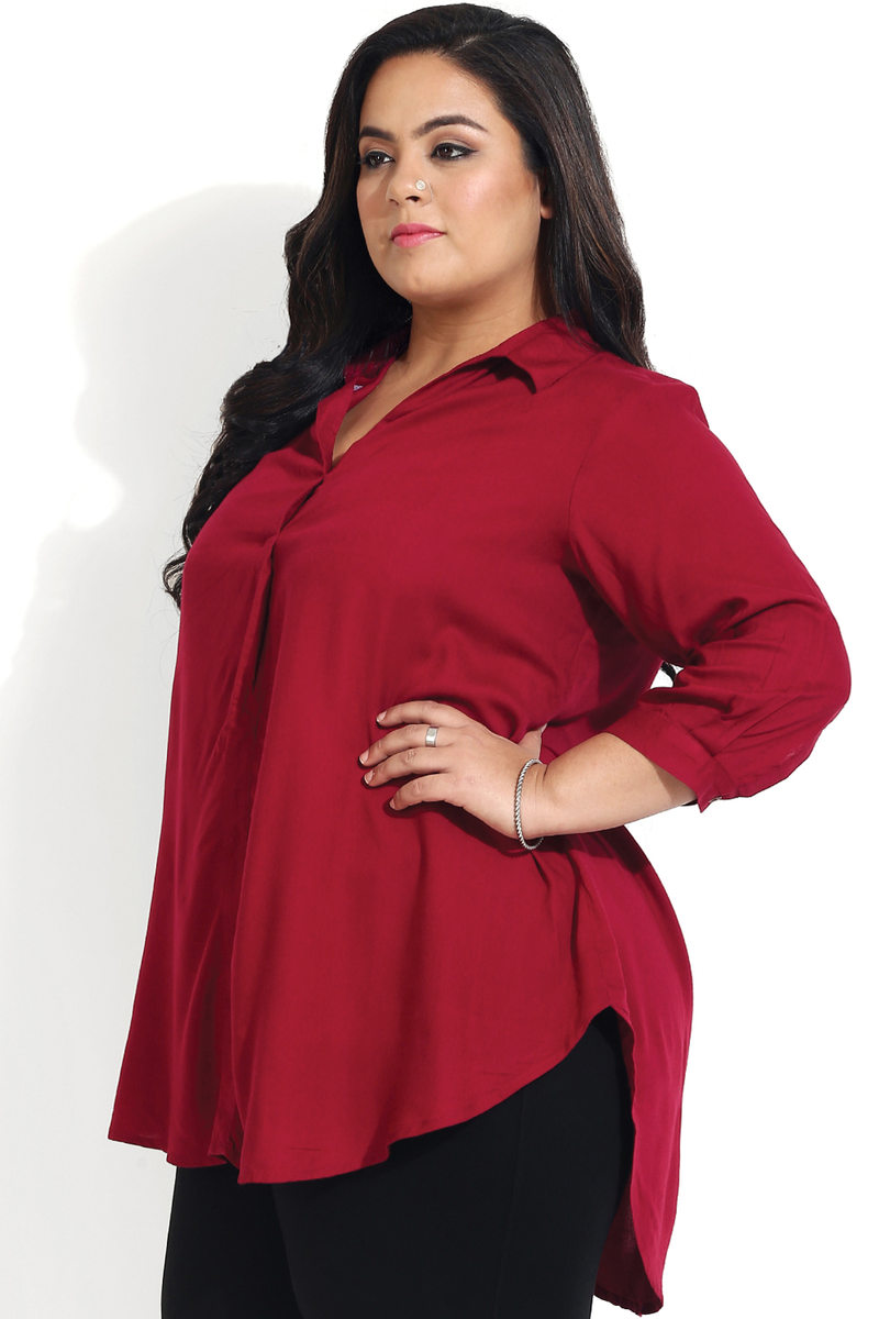 Maroon Basic Centre Pleat Collar Top
