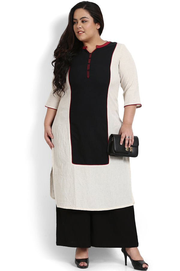 Black Red Color Block Placket Closure Kurti
