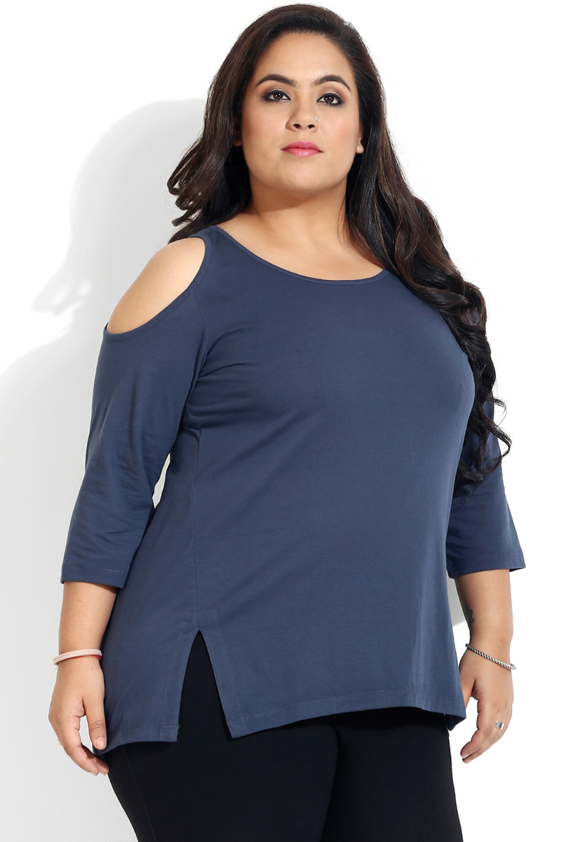 Navy Cold Shoulder Basic Top