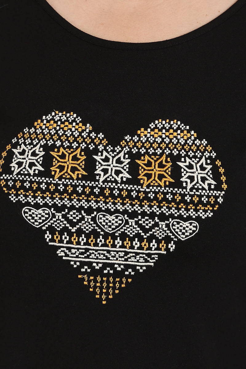 Black Heart Embroidery Rounded Hemline T Shirt