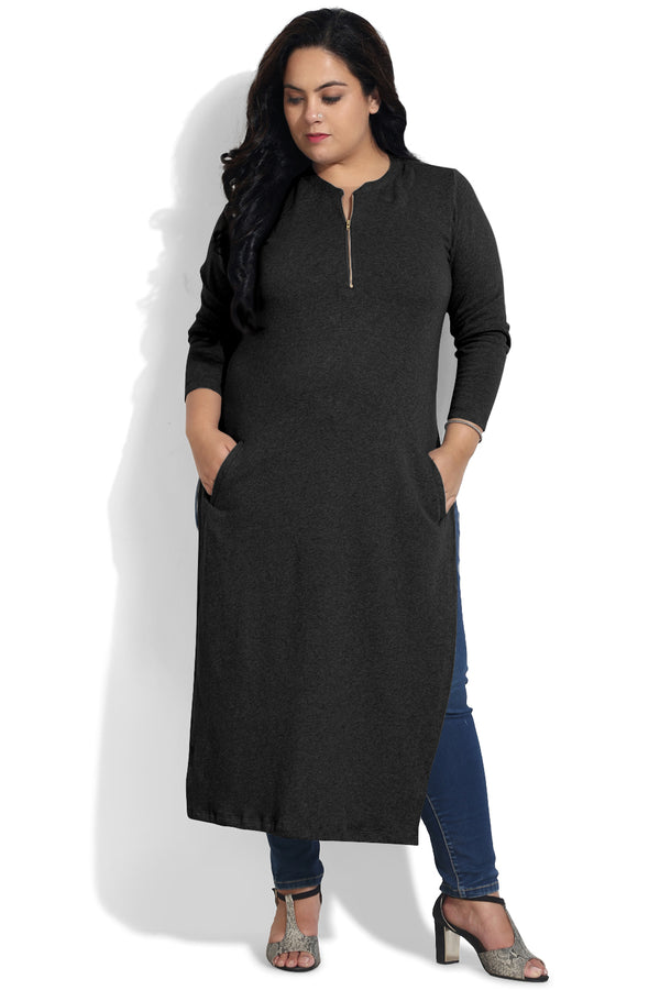 Black Pocket Detail Autumn Kurti