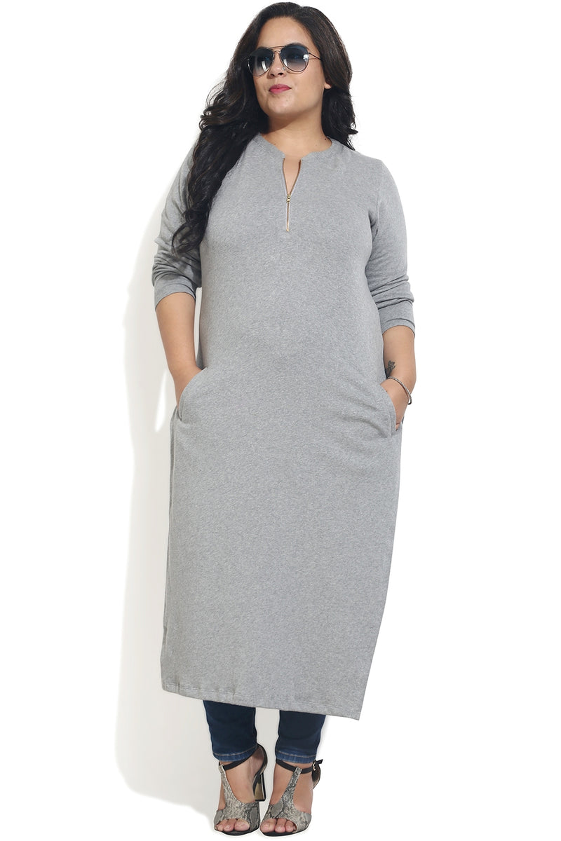 Grey Pocket Detail Autumn Kurti