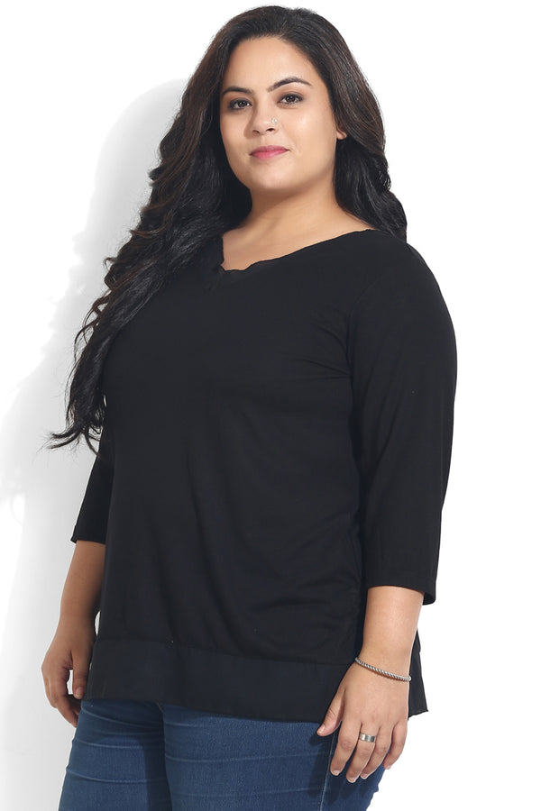 Black Georgette Insert Top