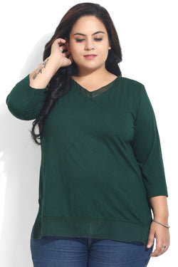 Green Georgette Insert Top