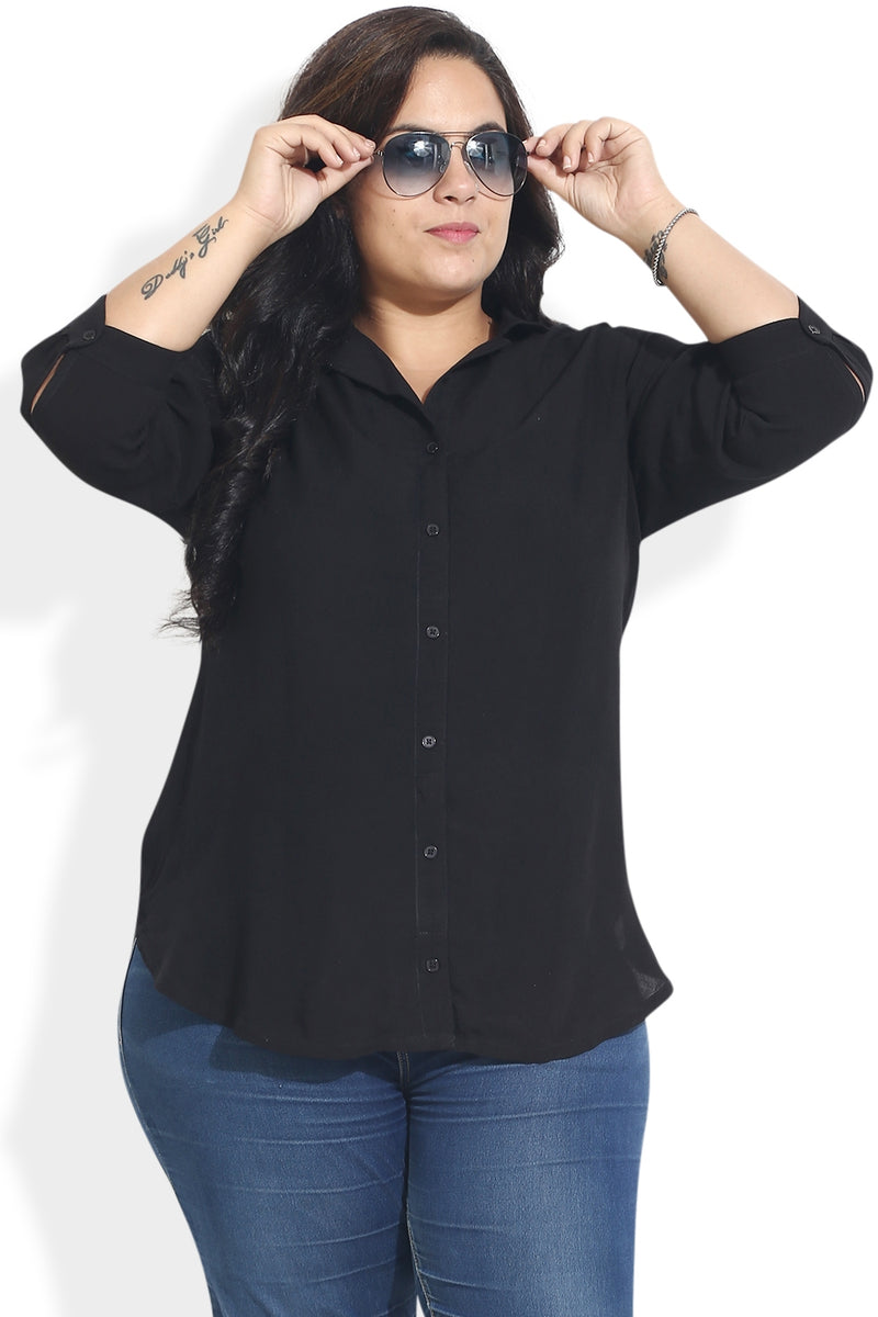 Black Cuban Collar Shirt