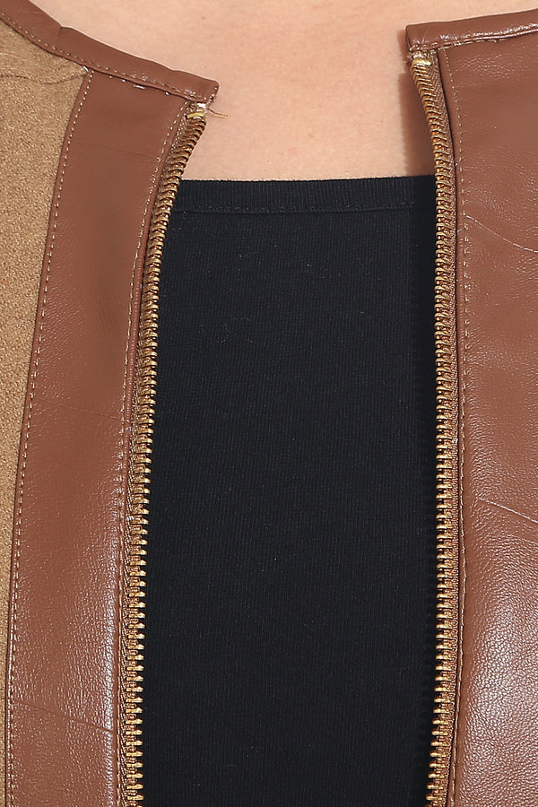 Brown Leather Detailing Zipper Sweatshirt