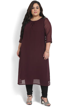 Plum Black Sequin Detail Kurti