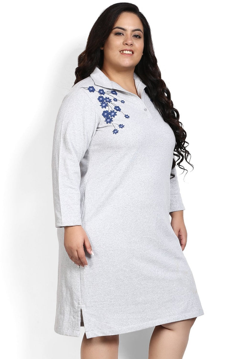 Grey Cascading Flowers Embroidery Autumn Dress