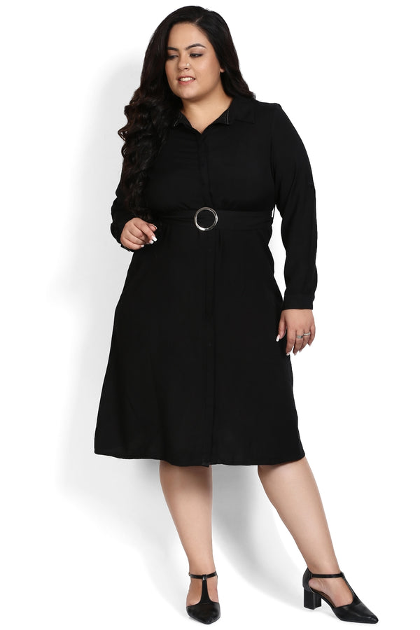 Black Belt Detail Shirt Dress